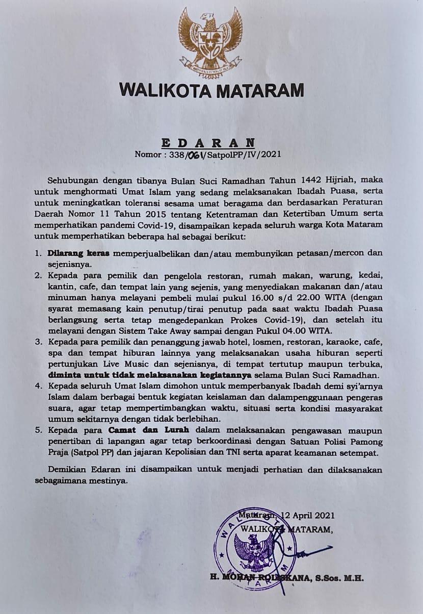 Surat Edaran Wali Kota Mataram Sehubungan Dengan Bulan Suci Ramadhan 1442 H