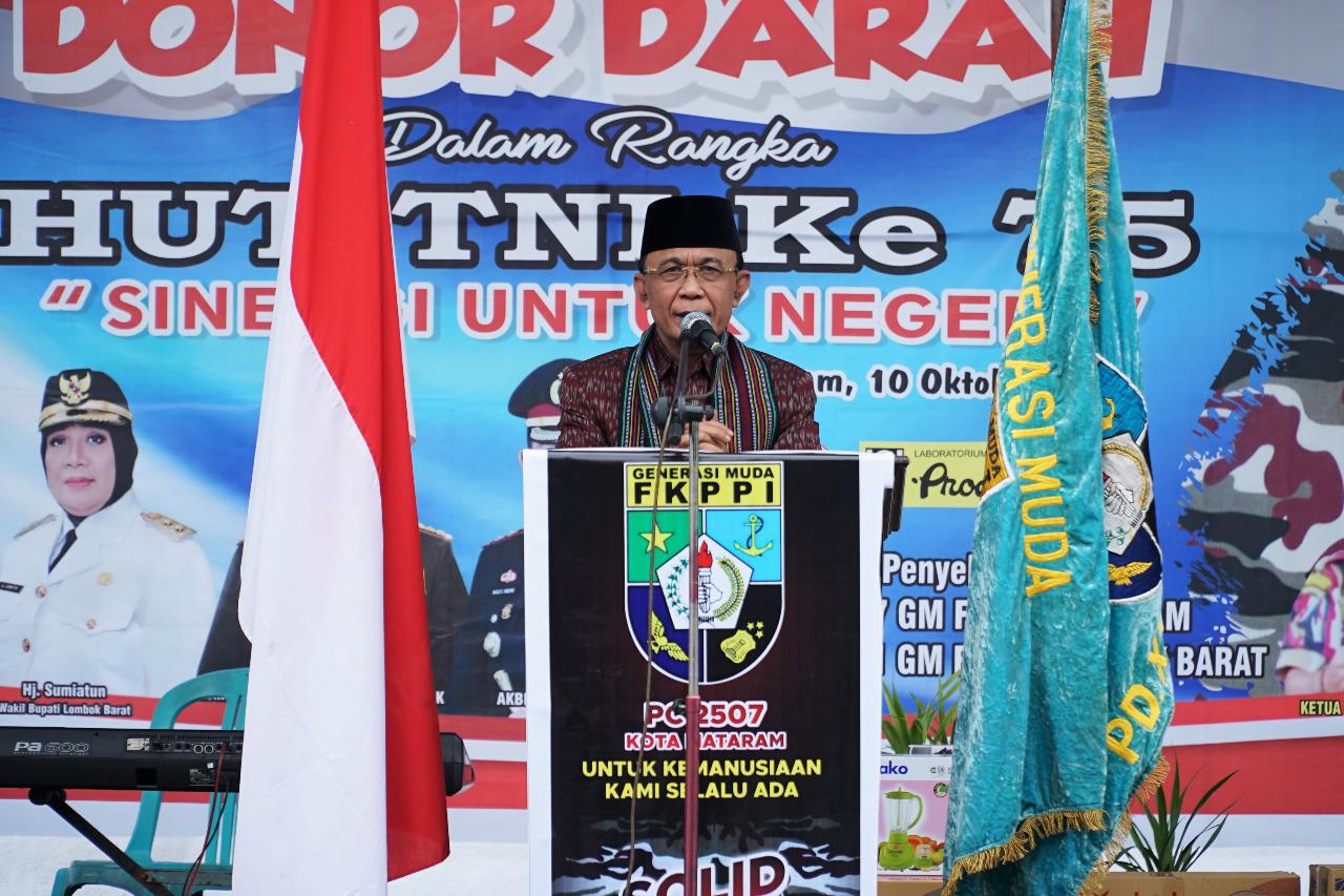 Wali Kota Mataram Hadiri Acara Donor Darah Dalam Rangka HUT TNI ke 75