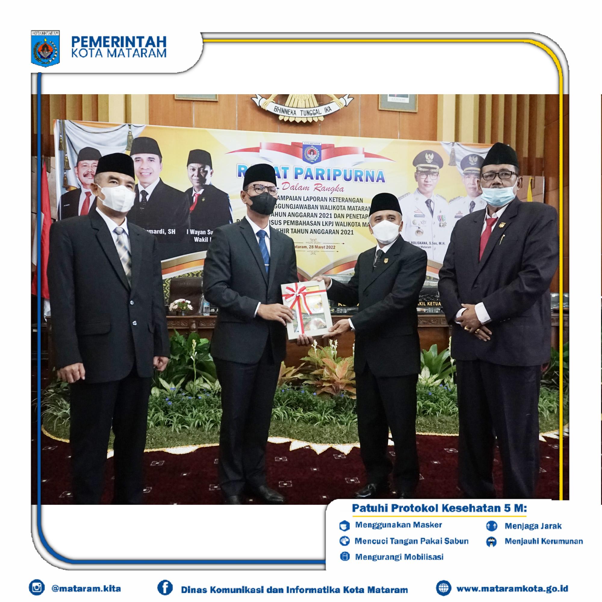 Wali Kota Mataram Hadiri Rapat Sidang Paripurna DPRD Kota Mataram